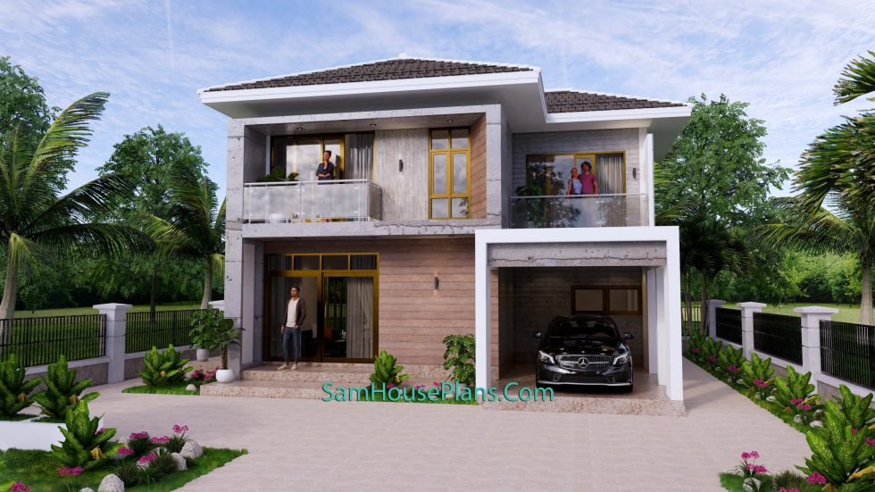 Small House Design 9x9.5 Meter 3 Bedrooms Full PDF Plan Front 3d view 1