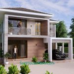 Small House Design 9x9.5 Meter 3 Bedrooms Full PDF Plan Front 3d view 2