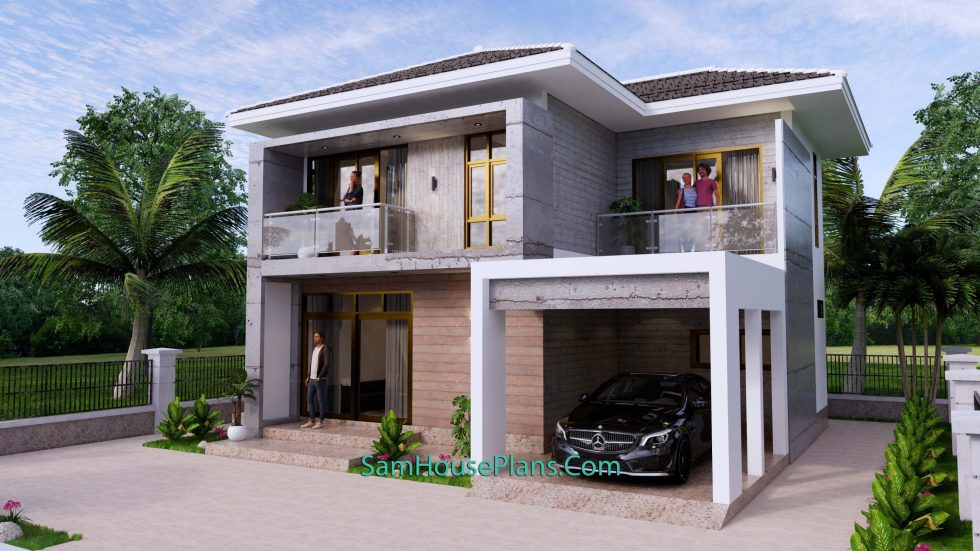 Small House Design 9x9.5 Meter 3 Bedrooms Full PDF Plan Front 3d view 3