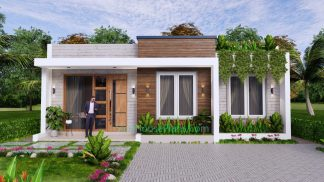 Small House Design Plan 10x8 Meter 2 Bedrooms 80Sqm Front 3D 2