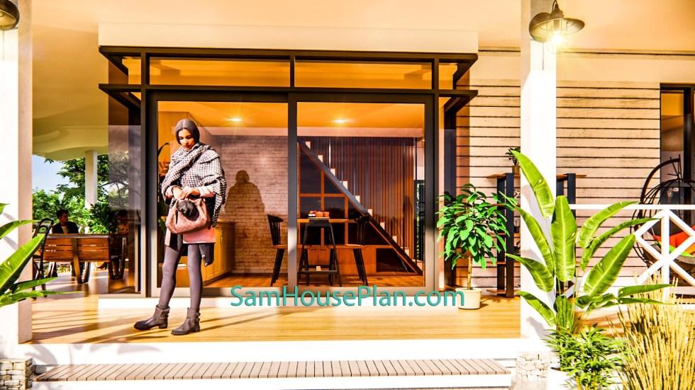House Design Plan 14x9 Meter 46x30 Feet 3 Bedrooms Full PDF Plan 3d front door