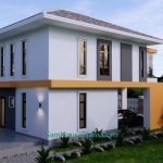 Small House Plan 7.5x9 Meter 3 Bedrooms PDF Full Plans 3d back 1