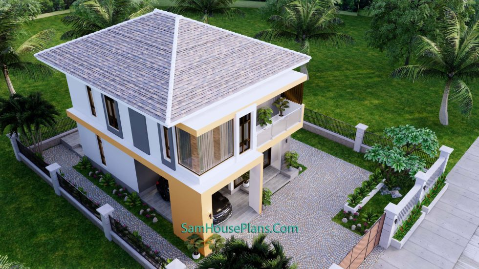 Small House Plan 7.5x9 Meter 3 Bedrooms PDF Full Plans 3d roof 1