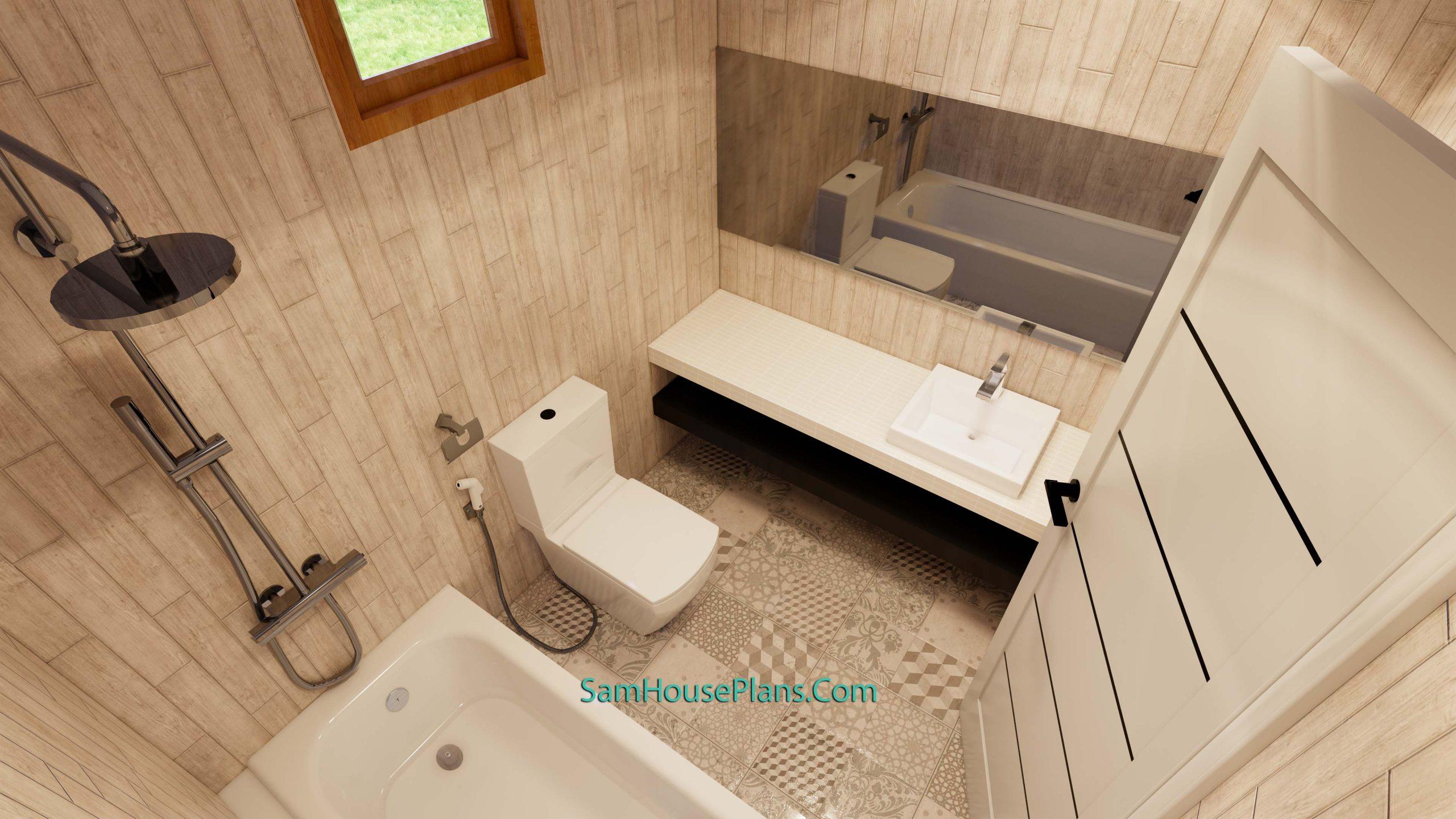 Interior Master Bathroom Modern House Plan 11x11 Meter 36x36 Feet 3 Beds PDF Plan 3d