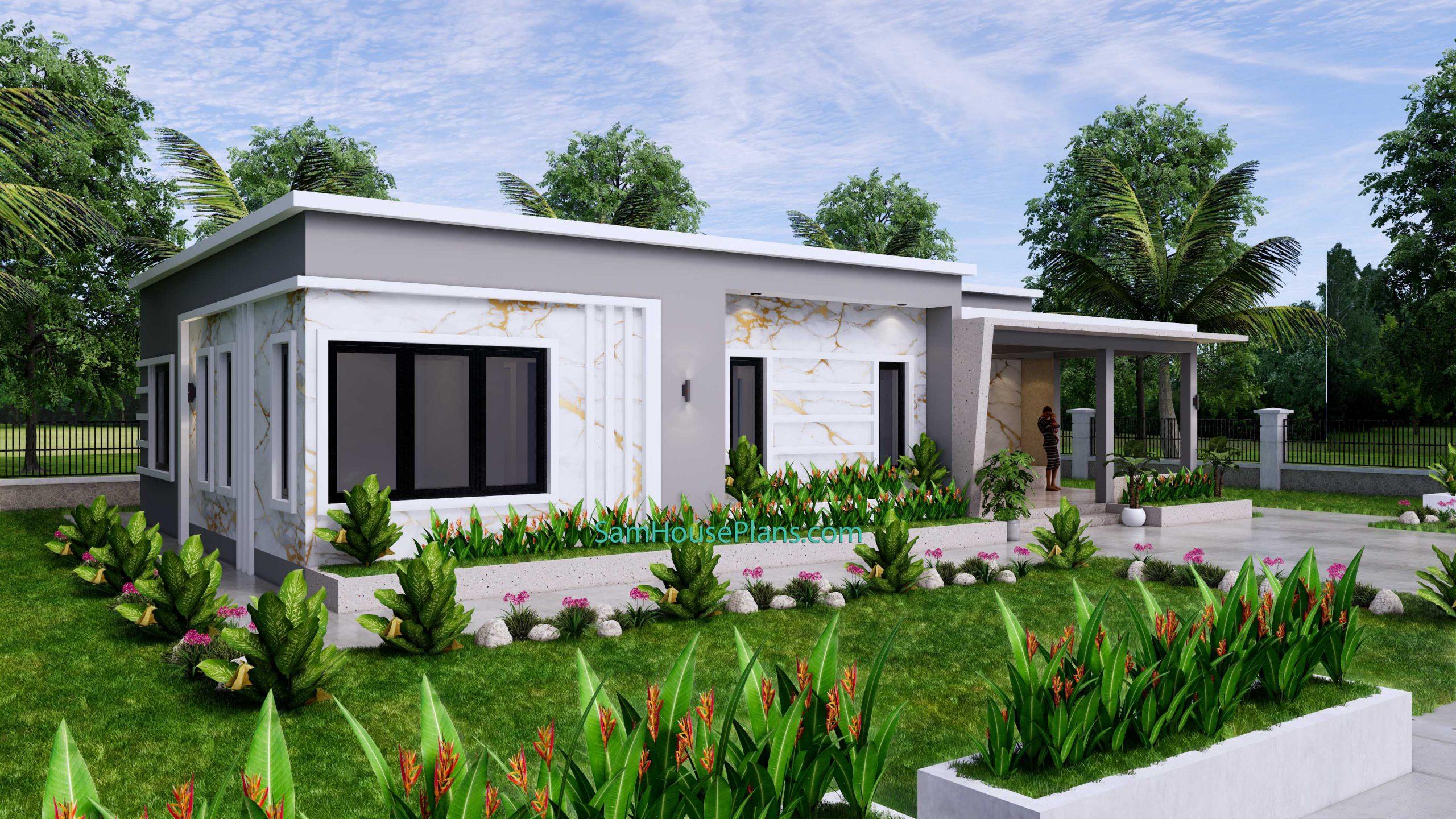 Modern House Design 15x9 M 49x30 Feet 3 Beds PDF Plan 3d view 3