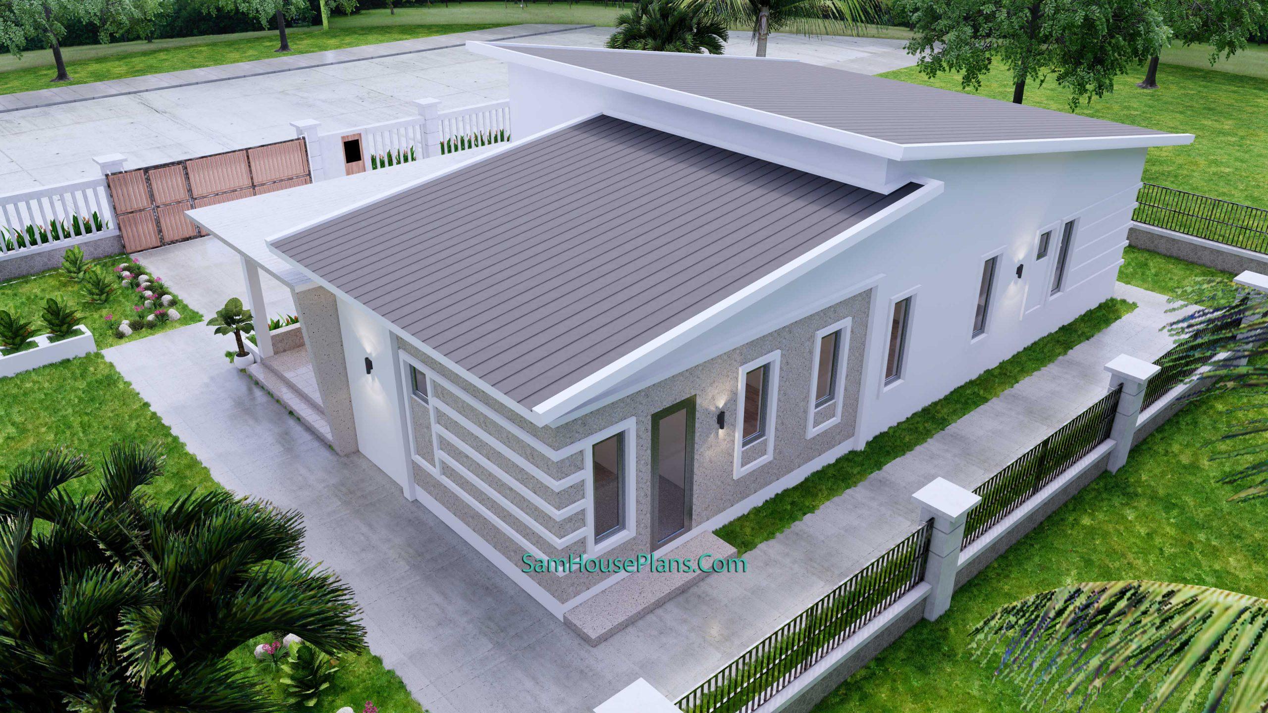 Modern House Plan 15x9 M 49x30 Feet 3 Beds PDF Plan 3d roof 4
