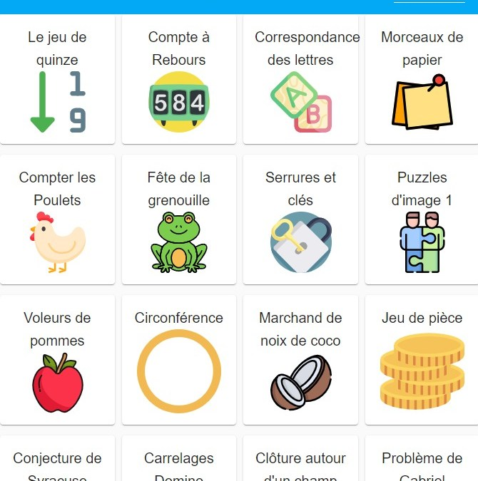 SAMI Maths Club App – New Problems in French