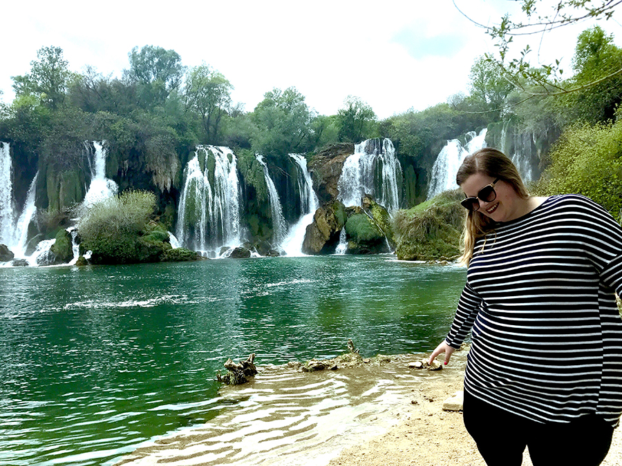 How to get incredible photos of yourself while traveling solo at Kravica Falls, Bosnia!