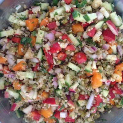 Looking for a quick and easy summer salad? Mung bean quinoa salad