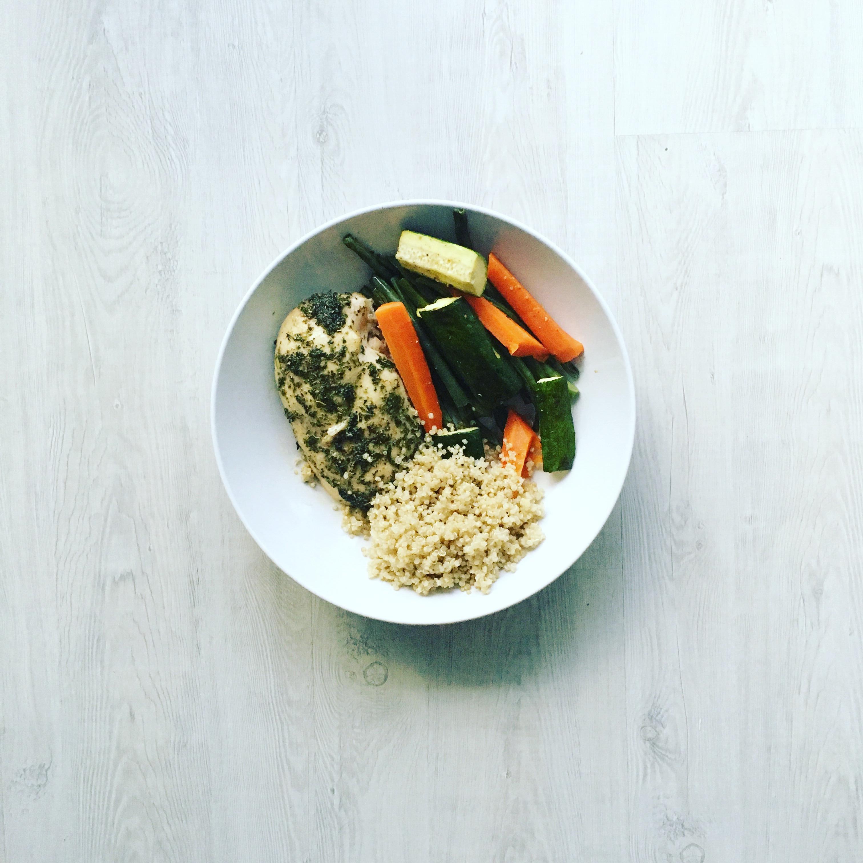 DINNER: Seasoned Chicken Breast with Quinoa and Veggies