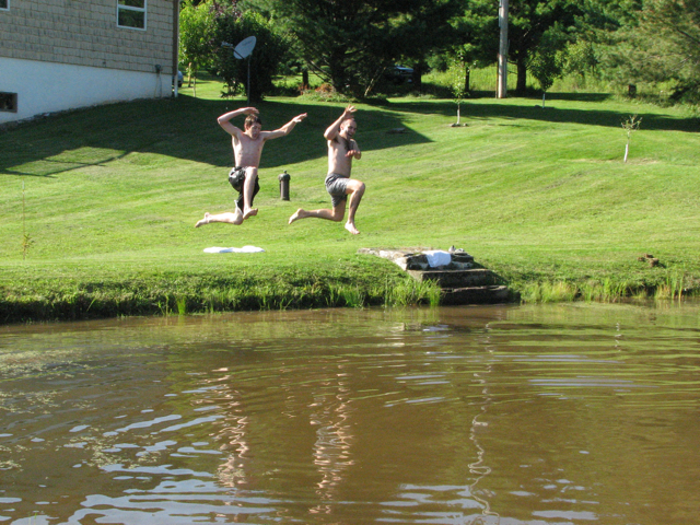 jumping in pond B & T