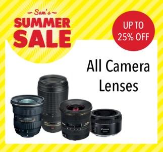 Sam McCauleys Summer Sale Up To 25% off all camera lenses