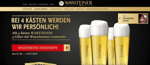 WARSTEINER Kronkorken Aktion 2015