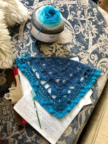 solstand shawl first draft pattern and shawl