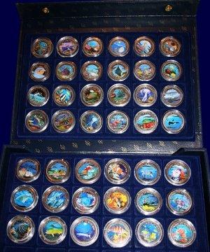 Palau 1$ Farbmünzen Komplettset von 1992 bis 2009 45 Münzen