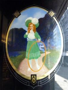 Hinterglasschild rechts, Detail