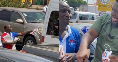 Video: Socrate Safo spotted on the hot sun sharing NPP nose mask in traffic