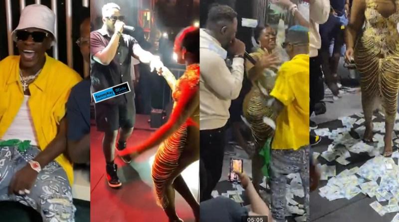 Video: Shatta Wale sprays cash on Medikal & Fella Makafui as they hit stage romantically