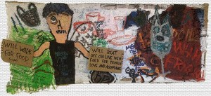 """Beachtown Graffiti."" 2/14/13. Mixed media. 33x13""."