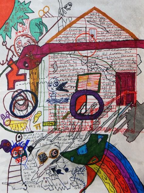 """Iowa."" 8/19/13. Watercolor, marker, and pen. 9x12""."