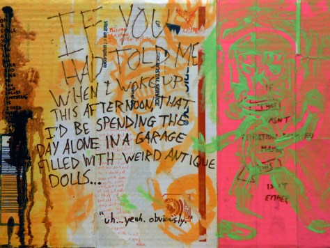 """""""It Smells Like Pee Because I Peed On It b/w How I Feel About My Life Right Now + Doll Garage."""" 3/14/13. Acrylic, watercolor, resin sand, duct tape, marker, colored pencil, fabric dye, coffee, and urine on flat-rate USPS priority mailing box. 12x16""""."""
