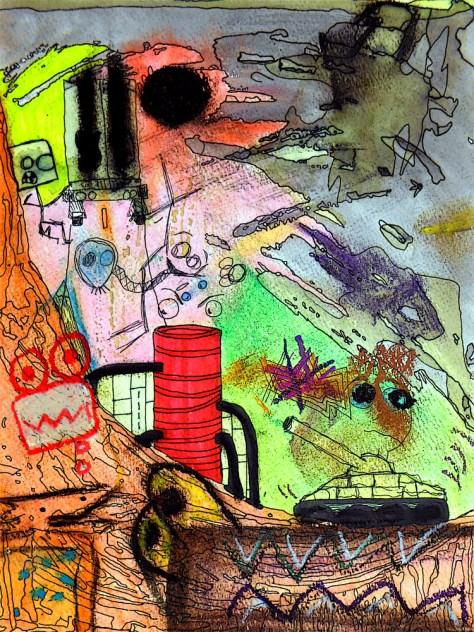 """""""Weird War."""" 8/20/13. Mixed media. 9x12""""."""