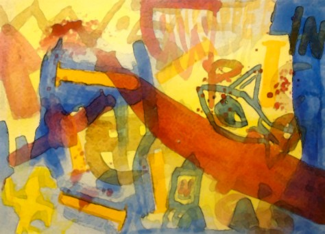 """""""Sharps Attack."""" 2/13/13. Watercolor. 9x12½""""."""