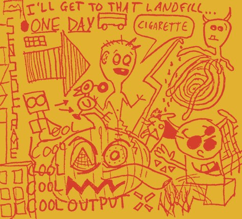 """Landfill."" 10/17/13. Marker on envelope. 9x10""."