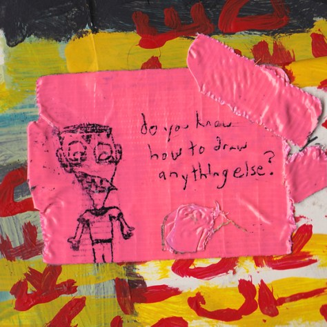 """Weird Kids With Bad Teeth."" 2/27/13. Acrylic paint, pen, duct tape. 4x4""."