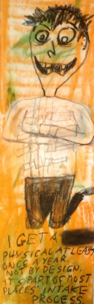 """Annual Check-Up."" 3/1/13. Oil pastels. 5½x18""."