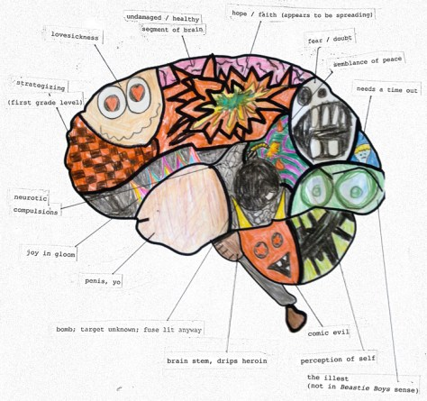 """Diagram of Sickle Cell-Affected Brain."" 12/17/12. Colored pencil, ink, collage. 8x7½""."