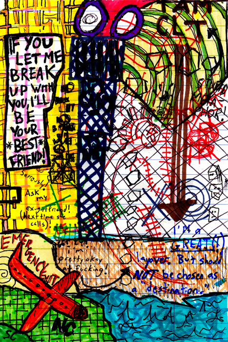"""""""Going to Charlotte."""" 12/27/13. Ink. 4x6""""."""