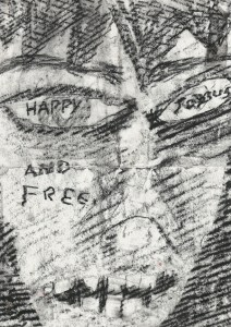 """""""Happy, Joyous, and Free."""" 1/19/13. Charcoal. 8½x12""""."""