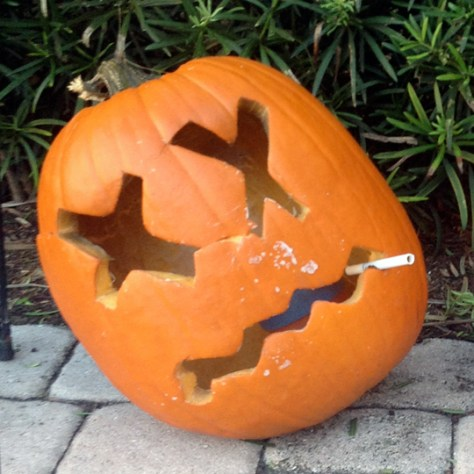 The pumpkin I carved in rehab last Halloween.