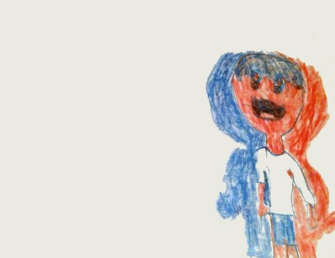 """Little Red Kid."" 11/6/12. Crayon. 11x8½""."
