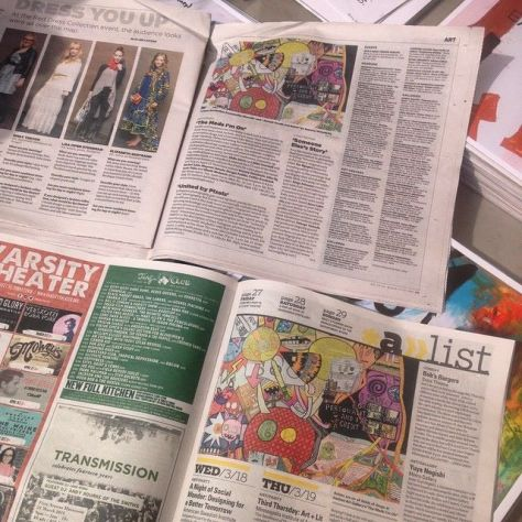 A couple highlights in MPLS papers advertising the exhibit and featuring one of my pieces.