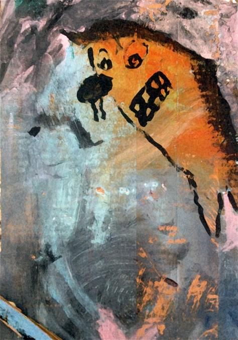 """Satellite Photography."" 2/16/13. Acrylic paint on cardboard."