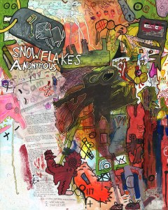 """Snowflakes Anonymous."" 11/22/13. Acrylic, watercolor, and spray paints, food coloring, markers, pen, resin sand, cardboard and EBT card – on 24×30″ stretched canvas."