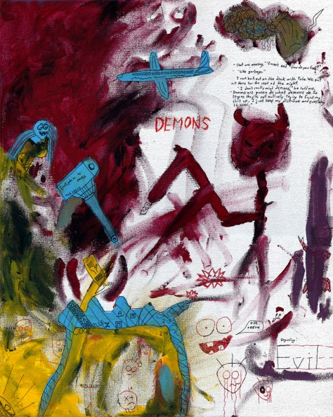 """Tola's Approach to Demons."" 7/21/13. Acrylic paint and ink. 16x20""."