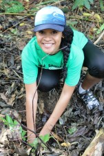 Sina smiles as she planted more than Posa.