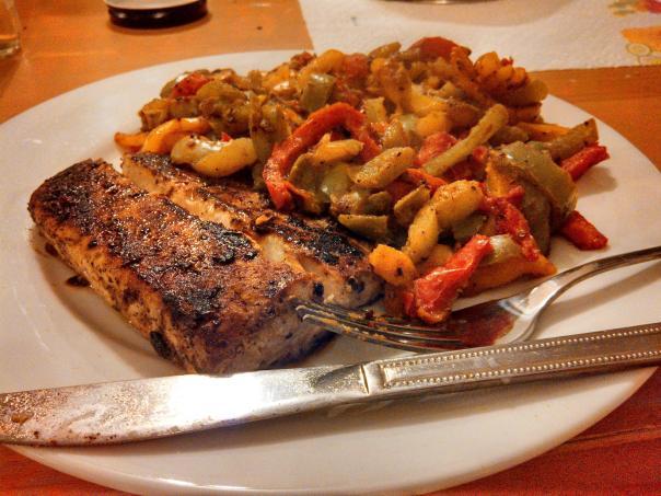 mahi mahi with peppers
