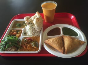 Combo Meal with Samosas and Mango Lassi