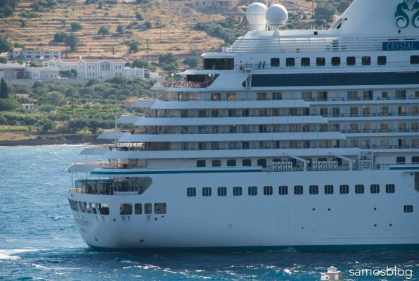 Cruise ship Crystal Serenity in Samos bay