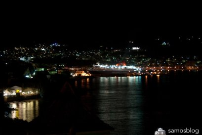 Ferry leaving Samos at night