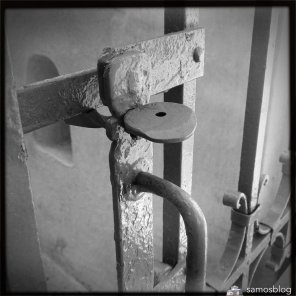 Nice hand made lock at church gate in Kastania