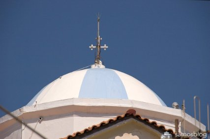 Blue sky, blue and white church dome. This is Greece!