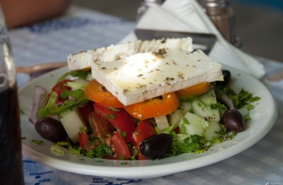 Greek salad, Blue chairs, Vourliotes