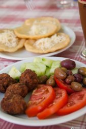 Great food is served on Samos. This is snack from the Pagondas village square