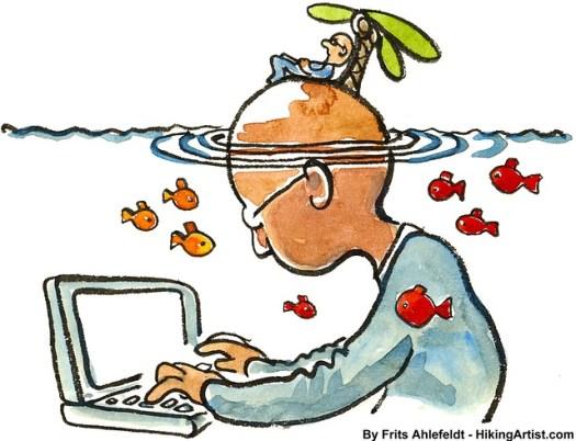 Obrazek przedstawiający człowieka przed komputerem, a na czubku błowy ma innego człowieka i palmę jako oblicza samoutrudniania