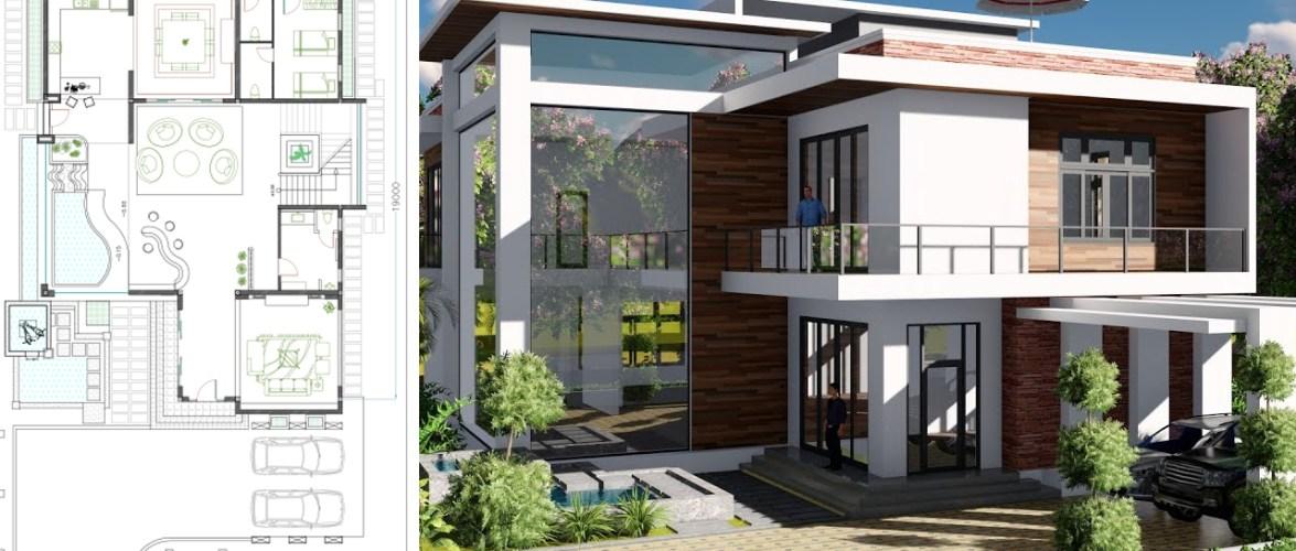 2层别墅设计面积13.8x19m 4卧室